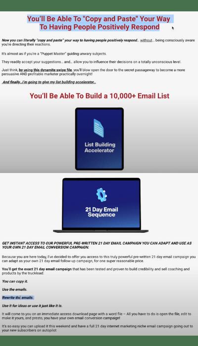 Secret Email System Upsell 1