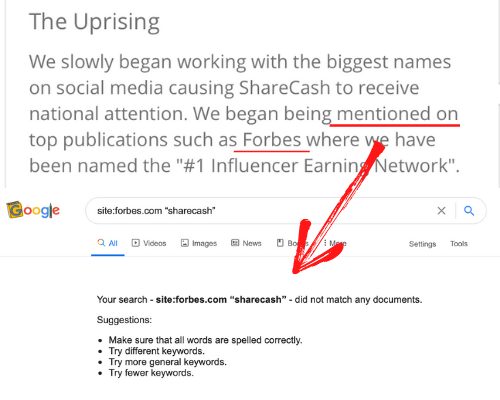 ShareCash Fake Forbes Mention