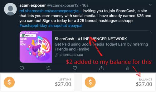 ShareCash Twitter Post