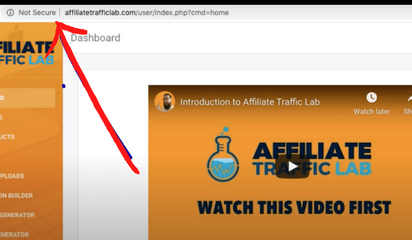 Affiliate Traffic Lab Not Secure Website
