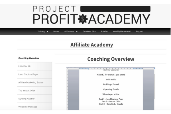 Project Profit Academy Affiliate Academy