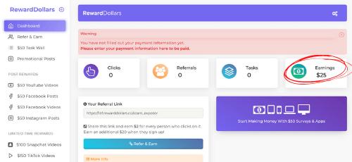 Reward Dollars Dashboard