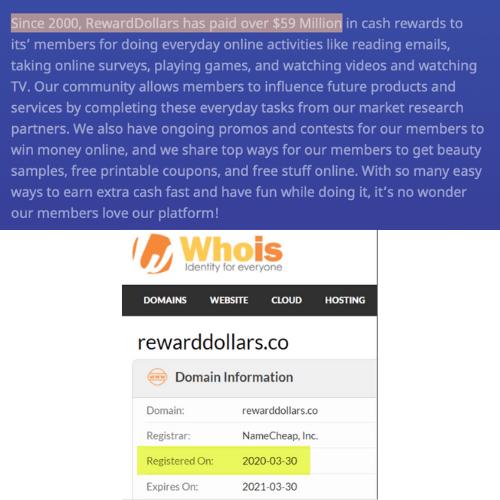 Reward Dollars Fake Founding Date