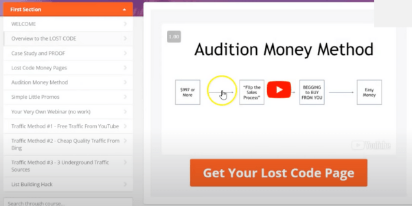 The Lost Code Audition Money Method
