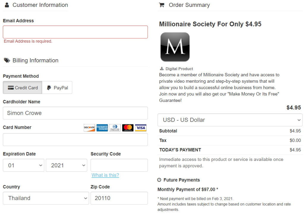 how much does millionaire society cost