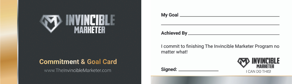 Invincible Marketer Commitment And Goal Cards
