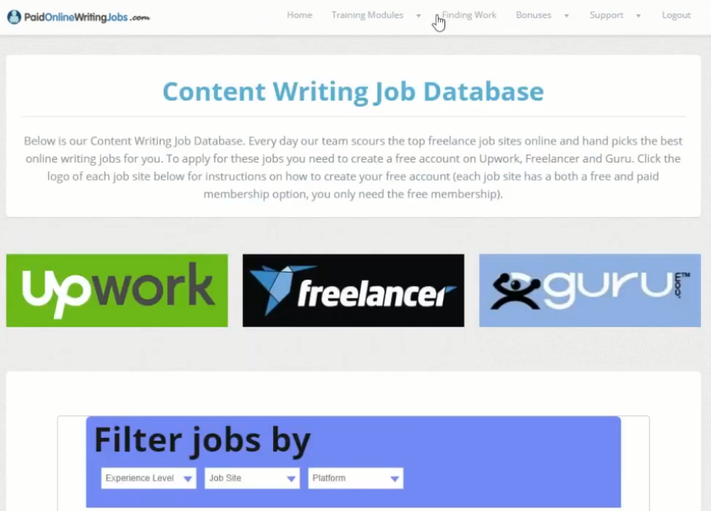 Content Writing Jobs Database