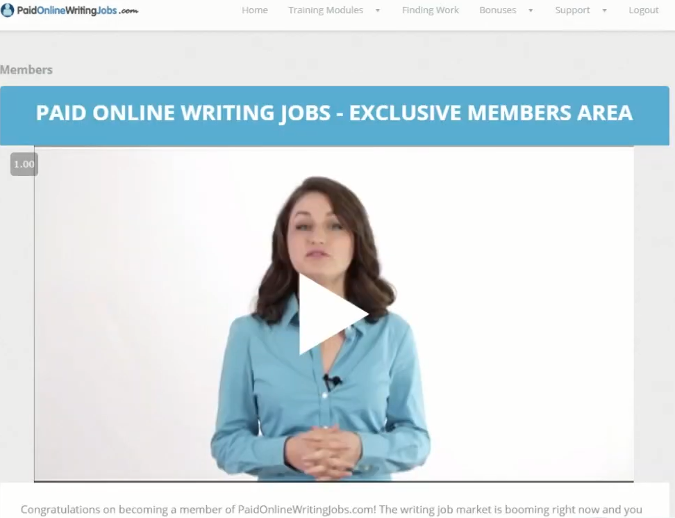 inside the paid online writing jobs members area