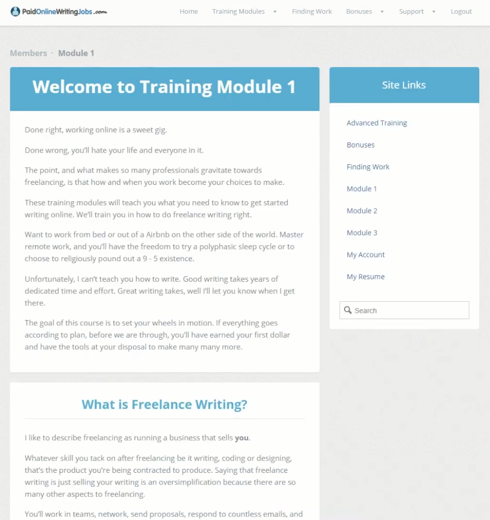 paid online writing jobs training